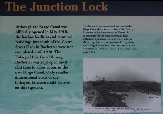 Sign on the Erie Canal showing the Junction Lock at Greece, NY