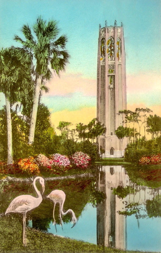 handcolored postcard from Bok Towers, 1944, Lake Wales Florida