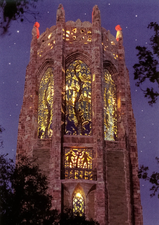Postcard of the Bok Tower at night.