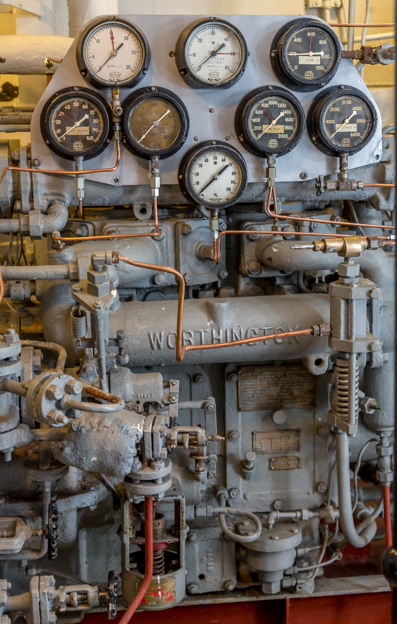Army Tug Engine Room: Arrays Of Pipes, Dials And Gauges Aboard The U.S.S. Little