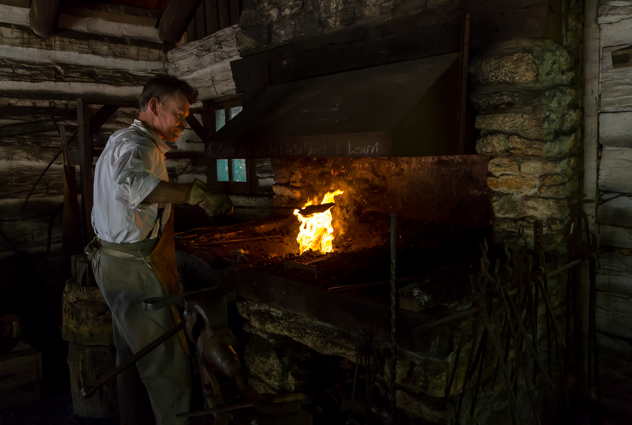 Old fashioned blacksmith forge 13